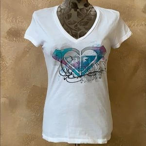 Roxy White V Neck Logo Front